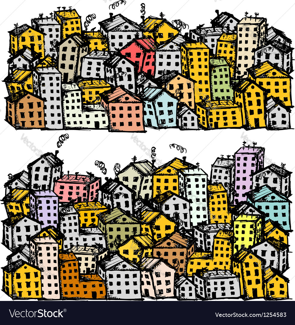 City street sketch background for your design Vector Image
