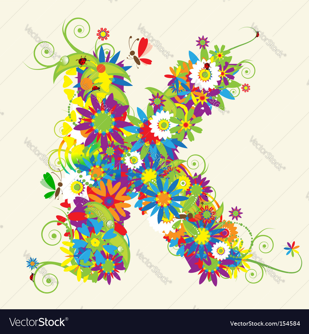 Letter K floral design vector image