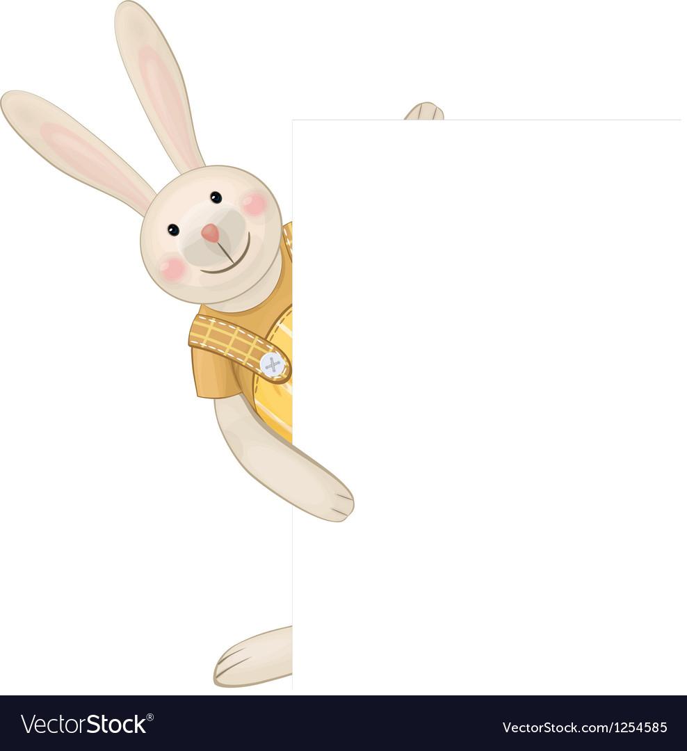 Cute rabbit hiding by blank vector image