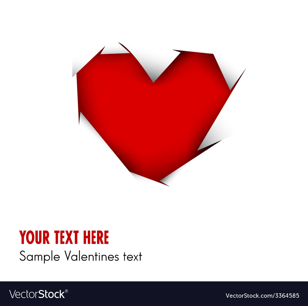 Heart cut out of white paper - vector image