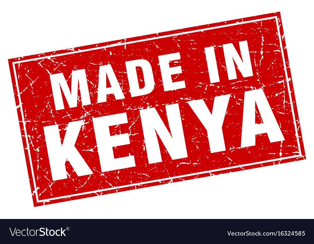 Kenya red square grunge made in stamp vector image