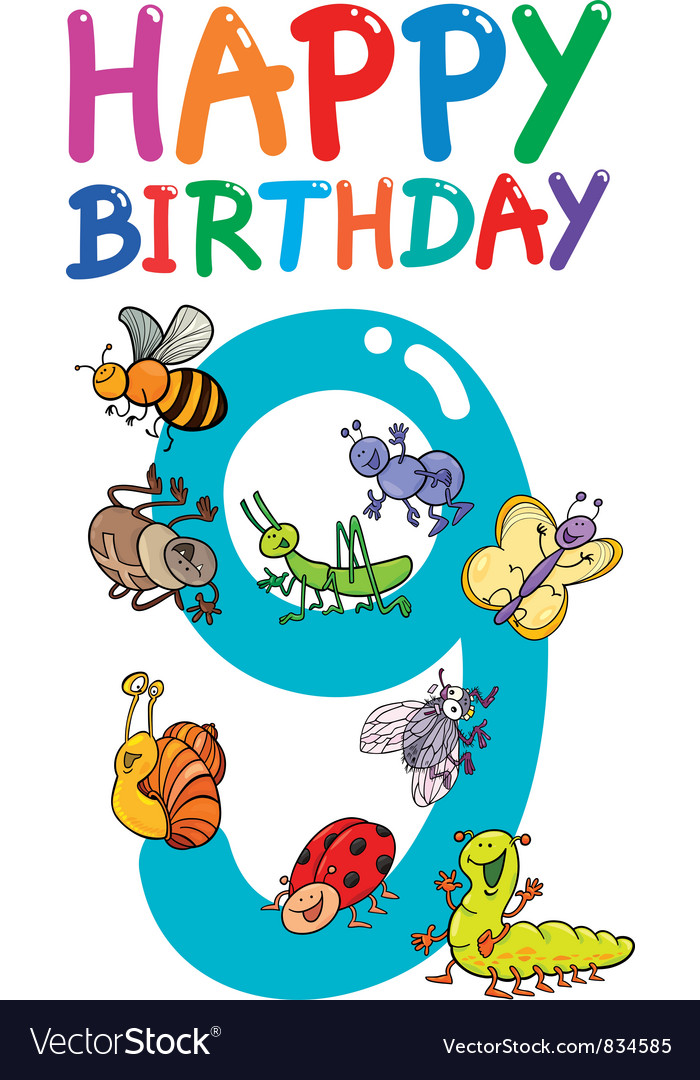 Ninth birthday anniversary card vector image