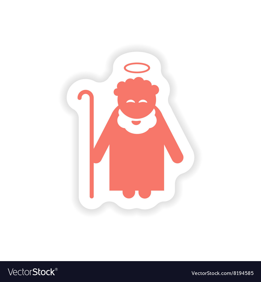Paper sticker on white background father of Jesus