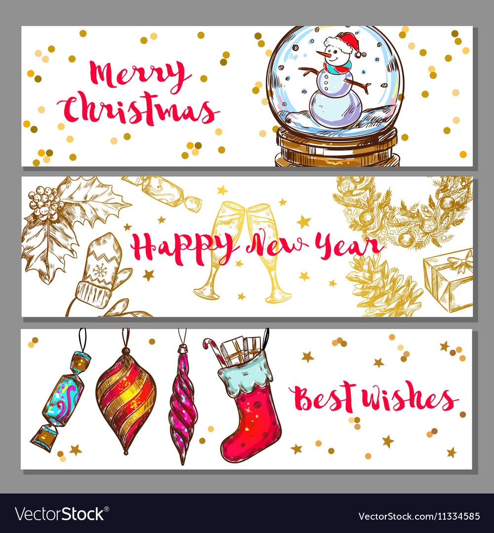 Sketch Christmas Banner Set vector image
