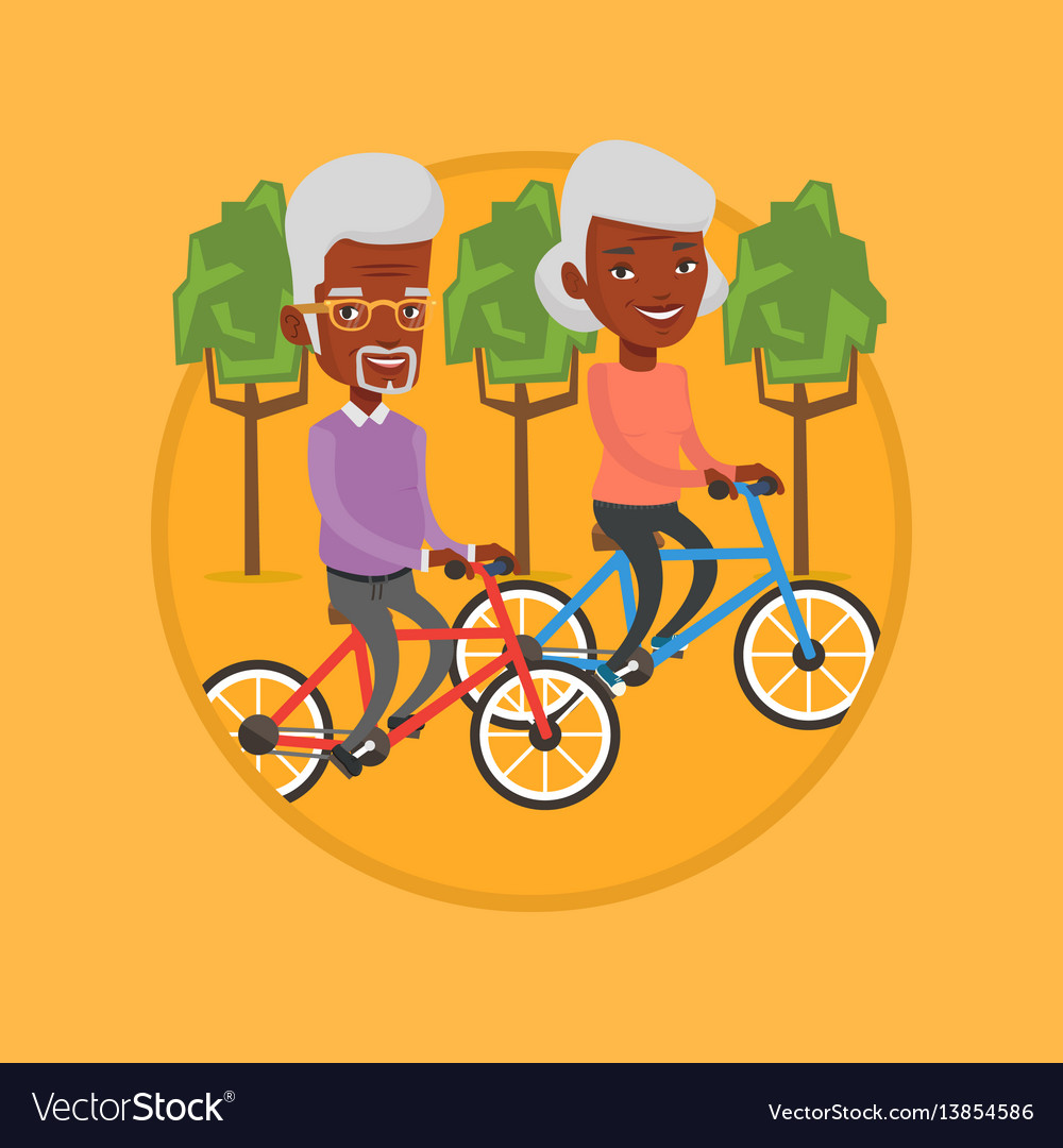 Happy senior couple riding on bicycles in the park vector image