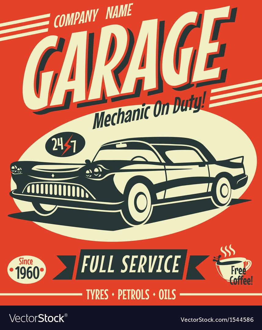 Retro car service sign Royalty Free Vector Image