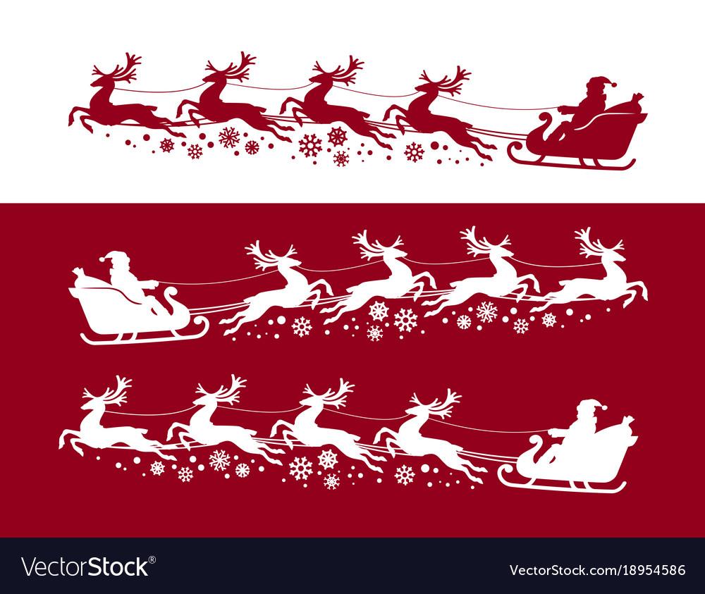 Santa claus in sleigh with reindeer christmas vector image