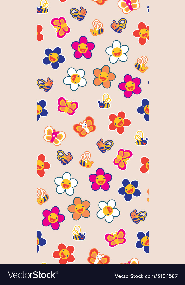 Seamless pattern with pretty flowers and bees vector image