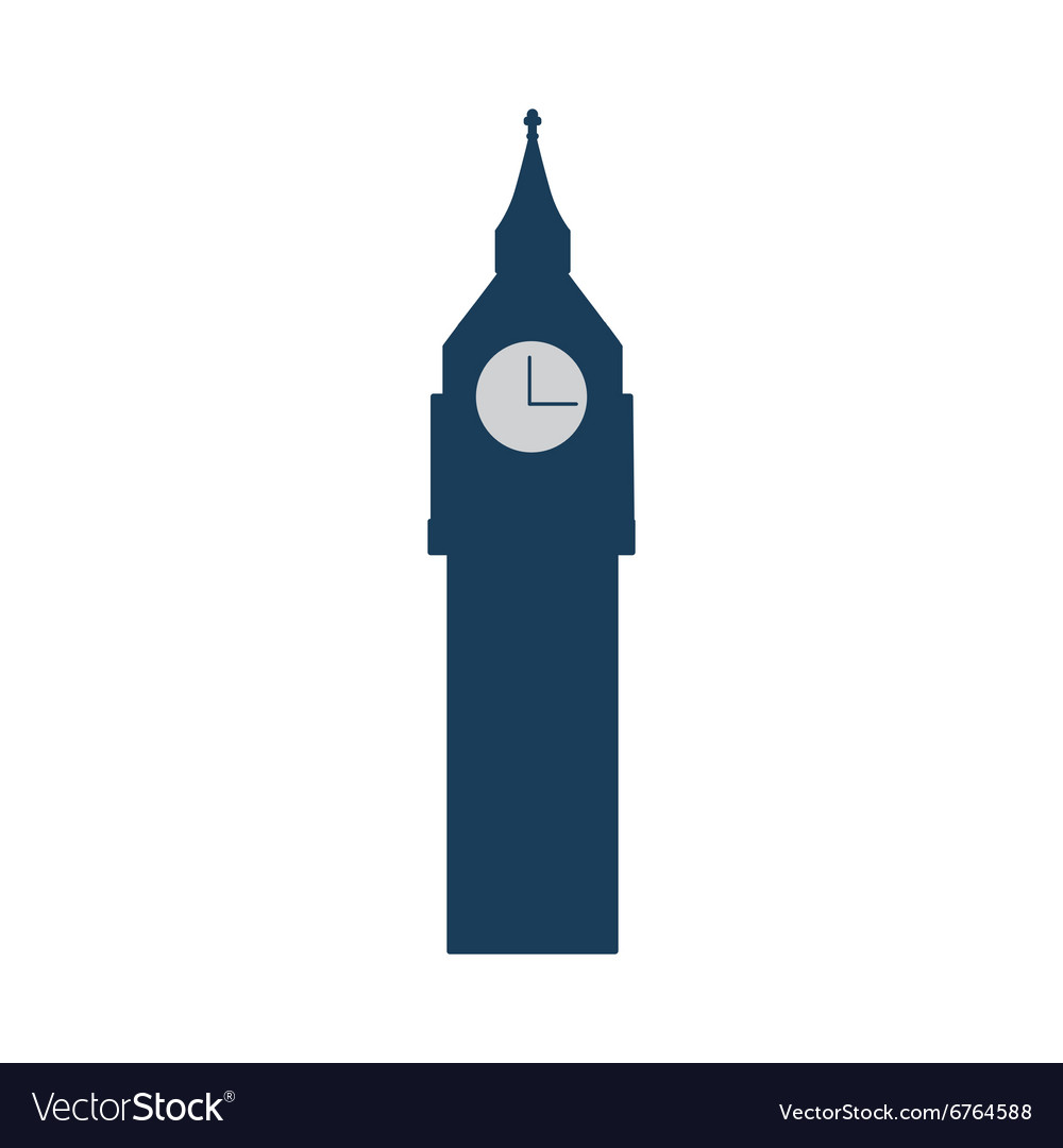 Flat icon on white background big Ben