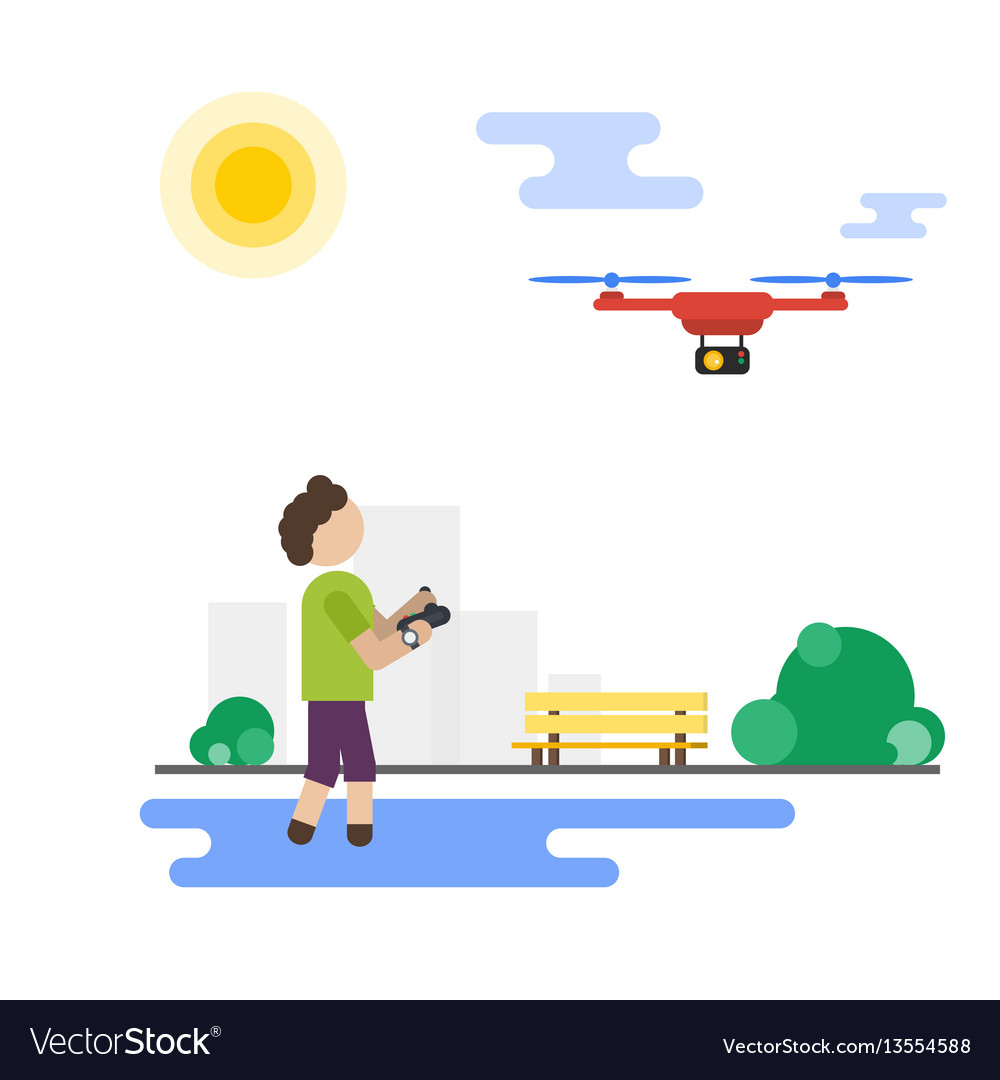 Flat boy playing with flying drone in the park vector image
