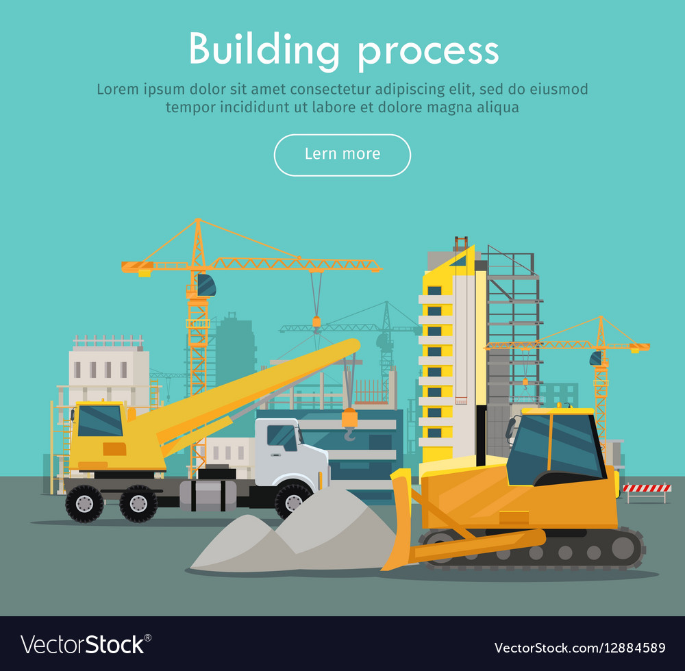 Building Process Web Banner Concept in Flat Style vector image