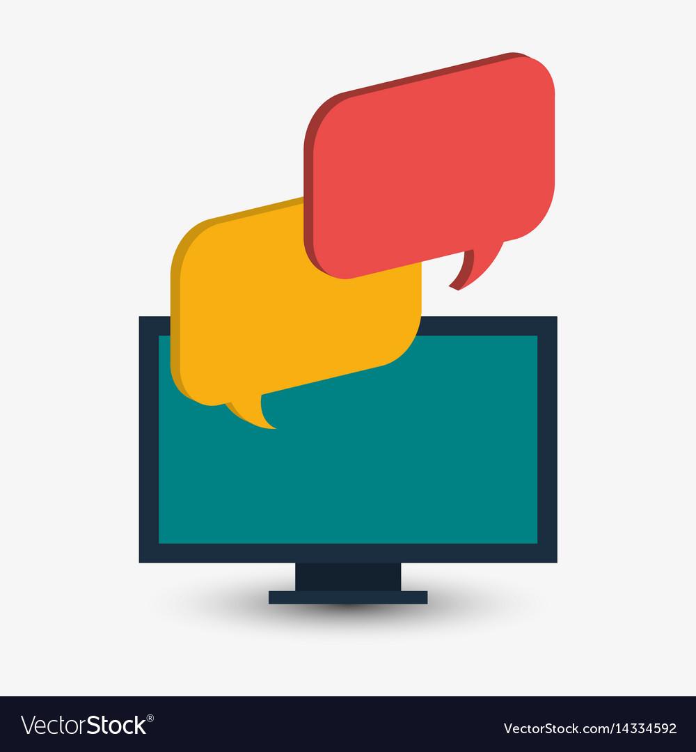 Computer technology bubble speech chat vector image