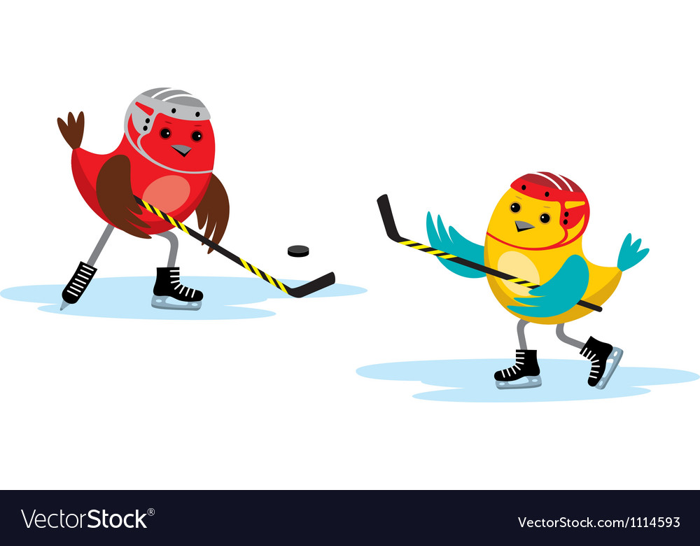 Birds play hockey vector image