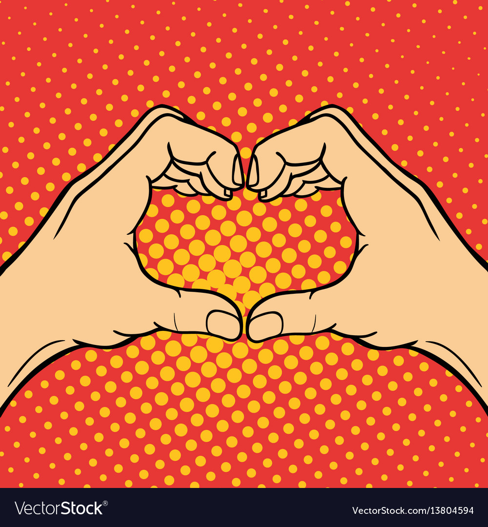 Hand showing heart deaf-mute gesture human arm vector image
