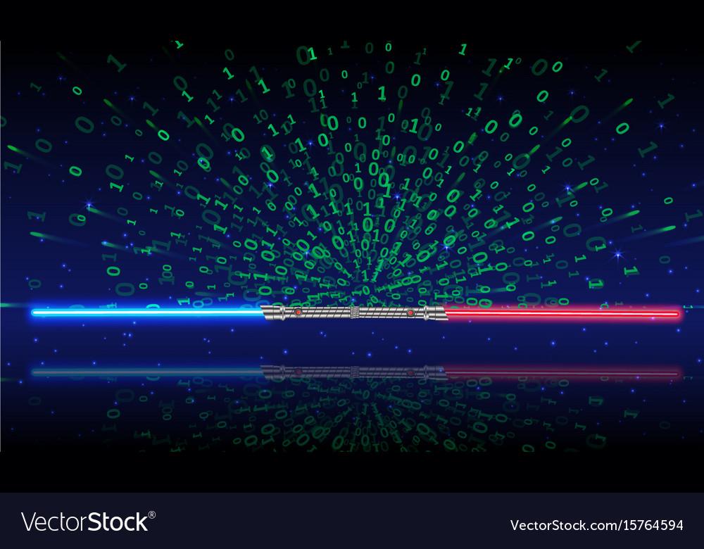 Light swords with green binary code vector image
