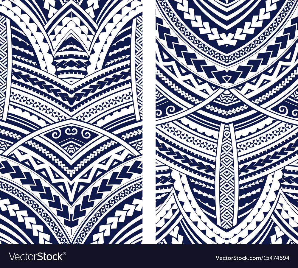 Maori style ornament set vector image