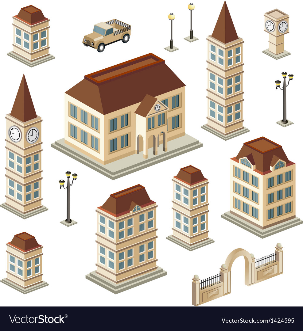 Antique buildings vector image