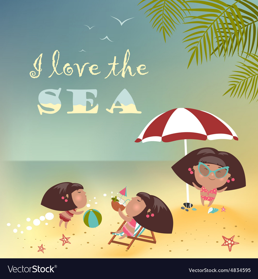 Girls relaxing on the beach vector image