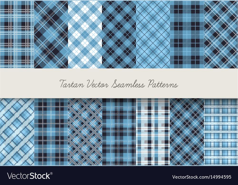 Tartan seamless patterns vector image