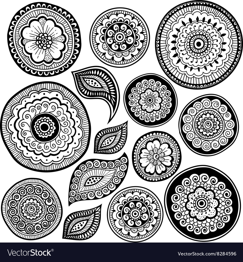 Zen-tangle elements for your creation vector image