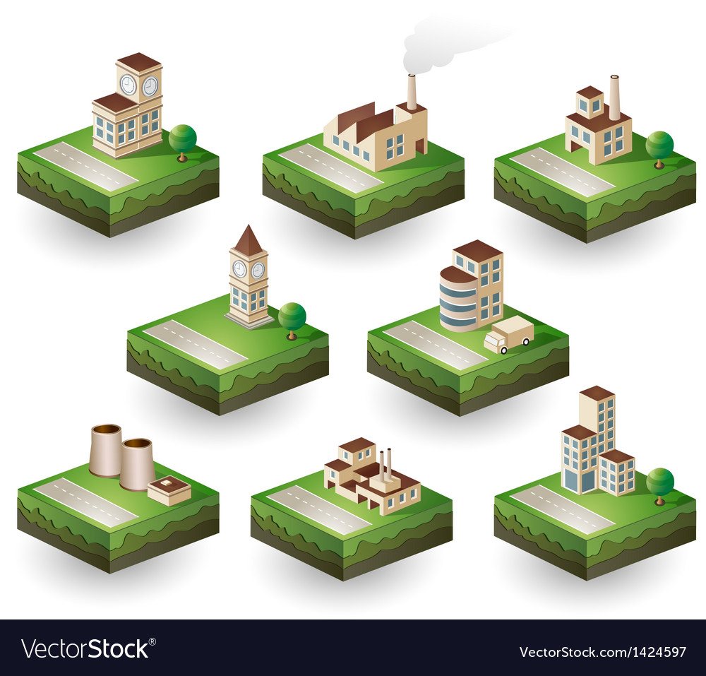 Icons isometric vector image