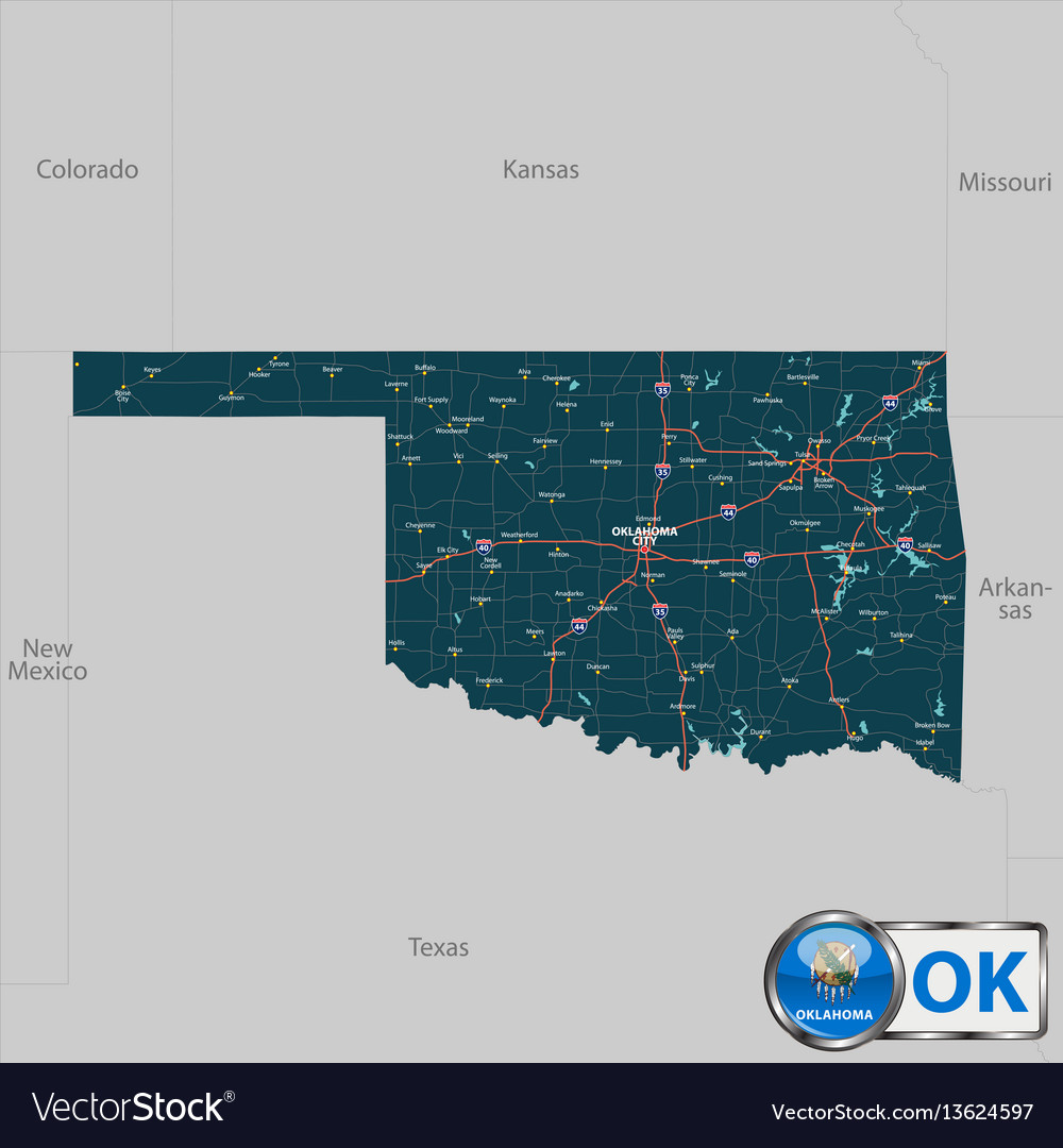 Map Of State Oklahoma Usa Royalty Free Vector Image - Usa map with oklahoma