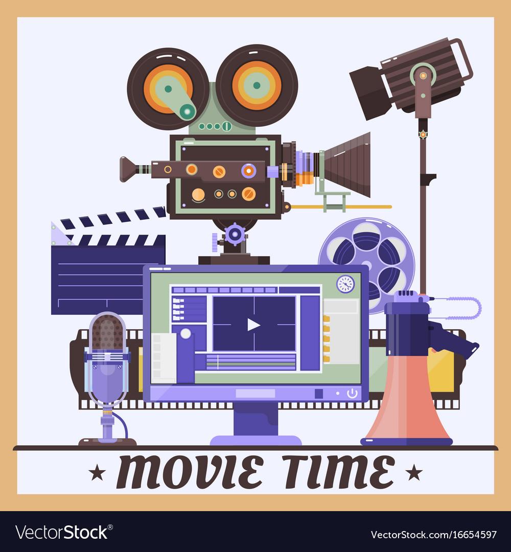 Retro cinema concept poster with megaphone lamp vector image