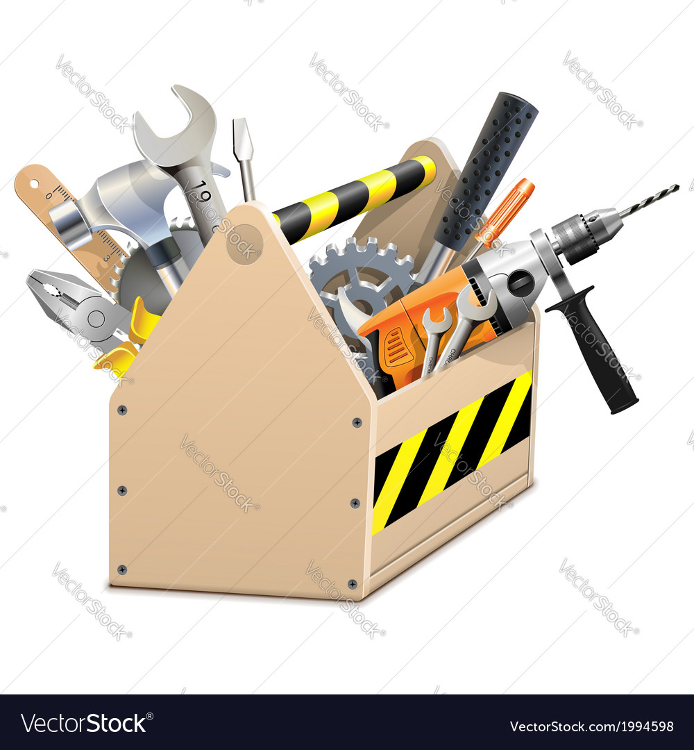 Wooden Box with Tools Vector Image