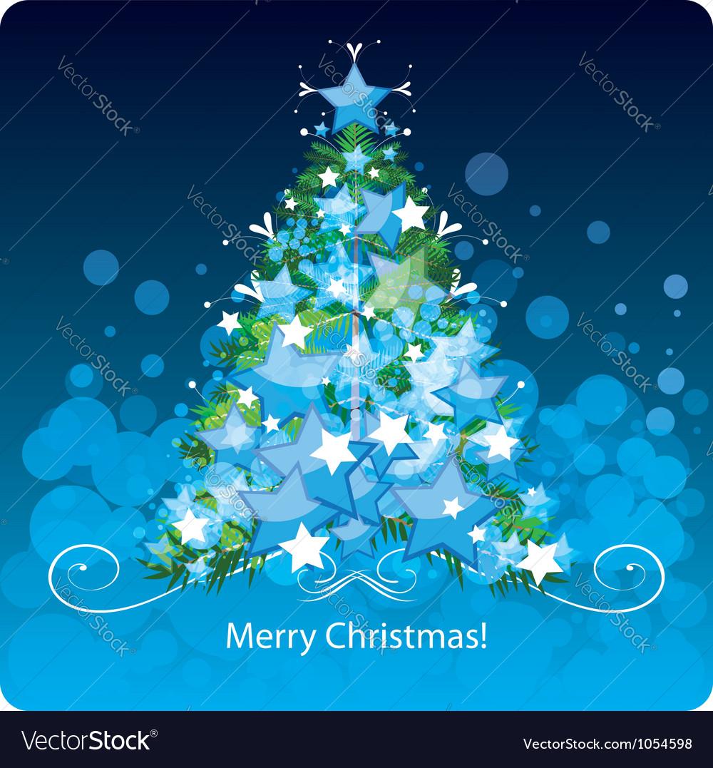 Christmas tree greetings card vector image