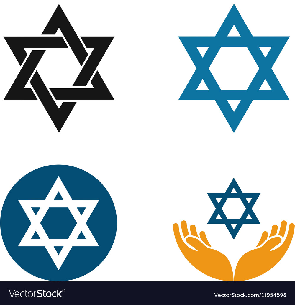 Star of David logo Judaism or Jewish set vector image