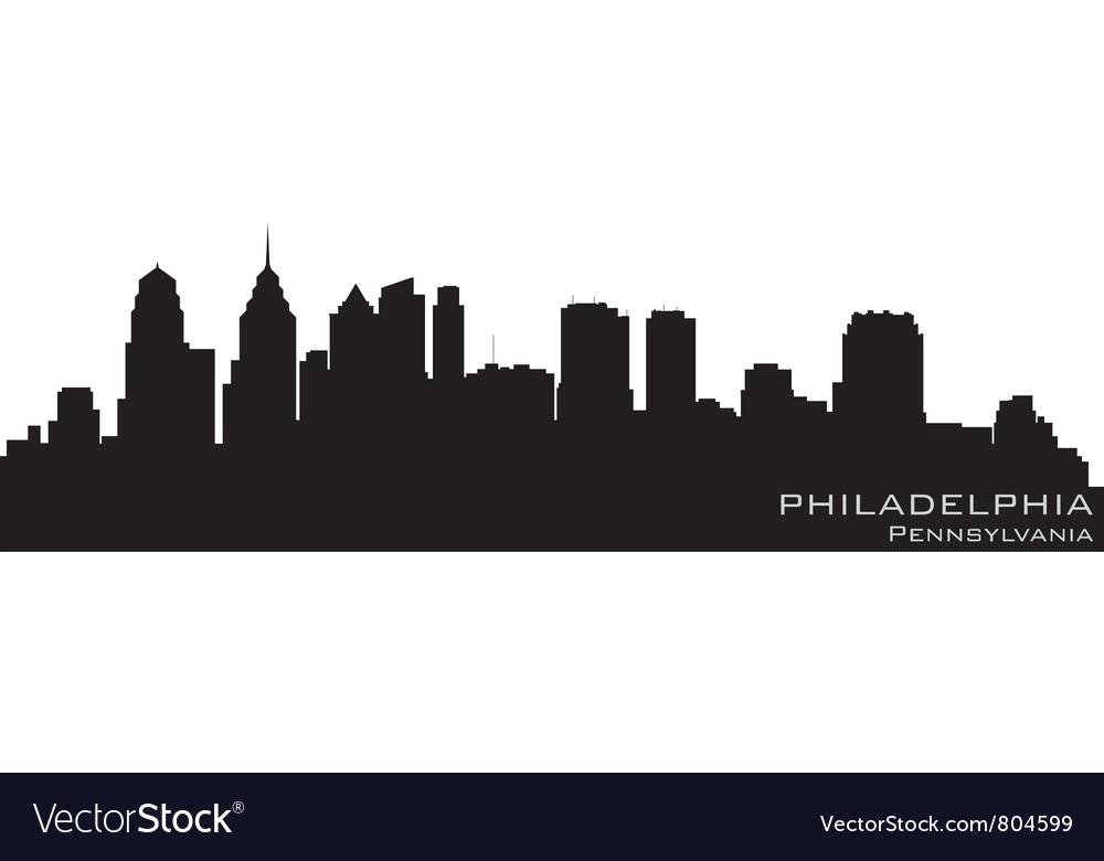 Philadelphia Pennsylvania skyline Detailed silhoue vector image
