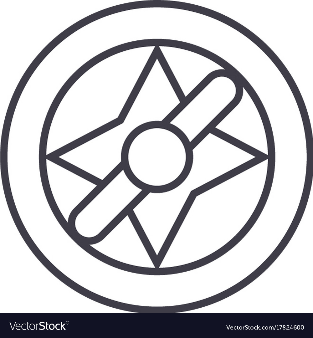 Compass line icon sign vector image