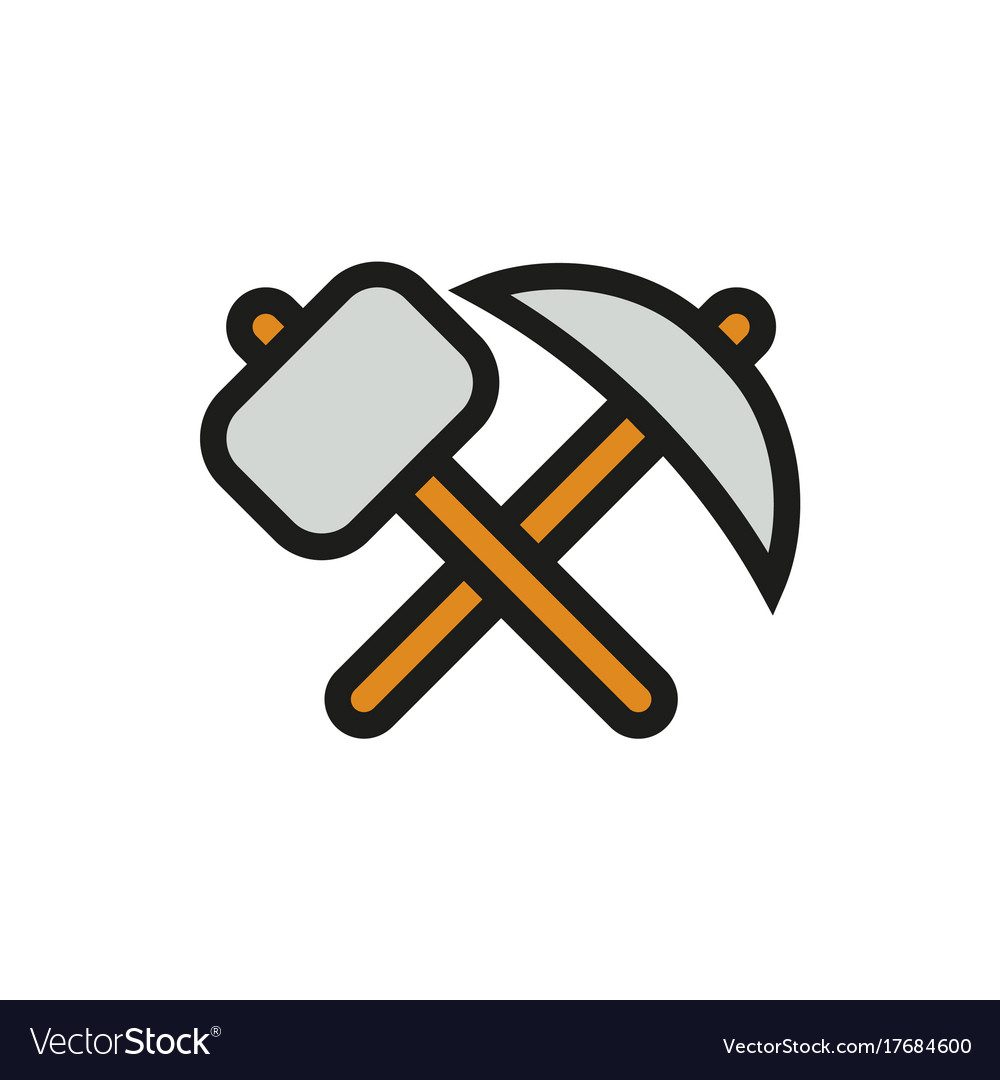 Pick axe and hammer icon on white background vector image buycottarizona Choice Image