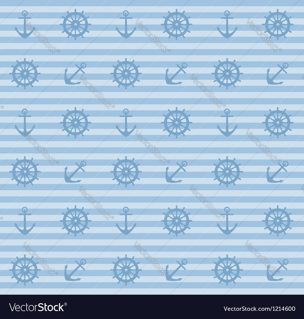 Seamless pattern with anchors and steering wheels vector image