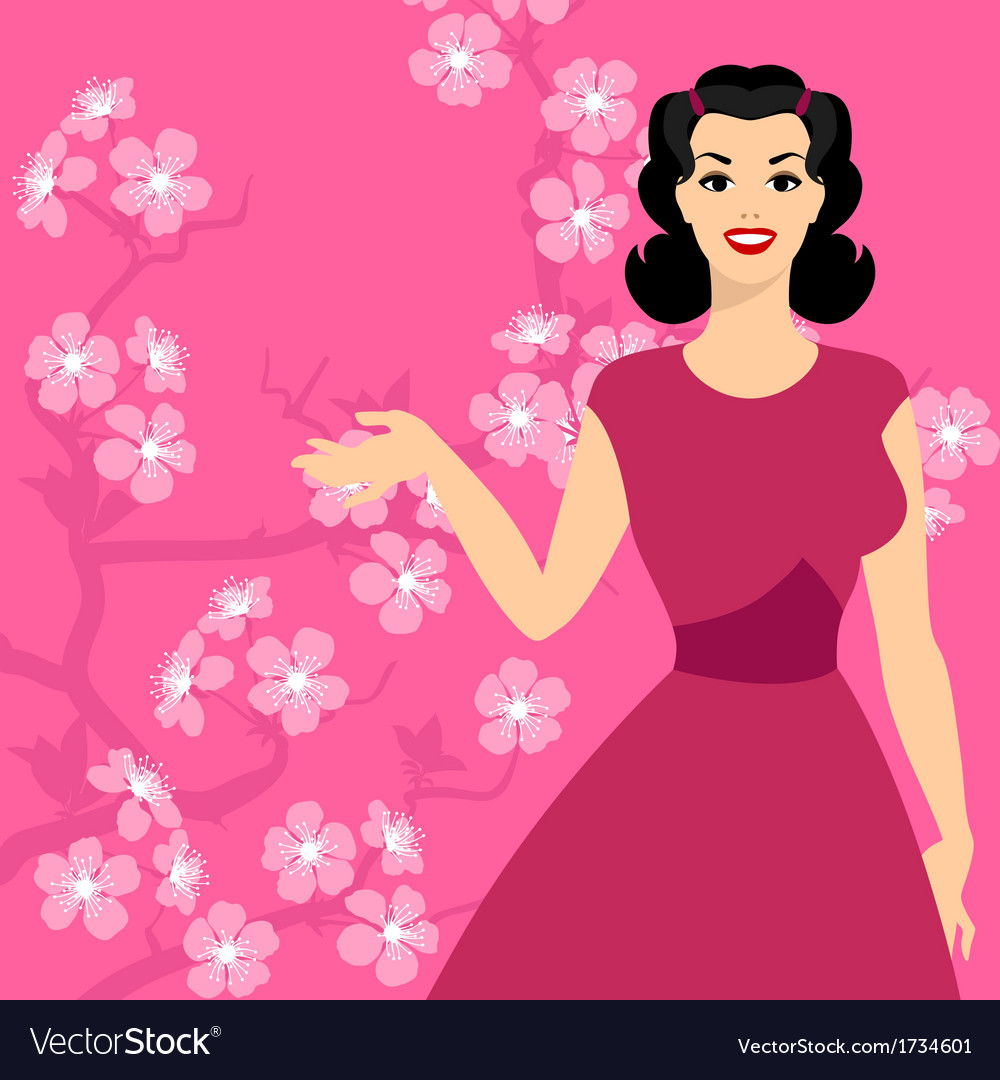 Card with pin up girl and stylized cherry blossom vector image
