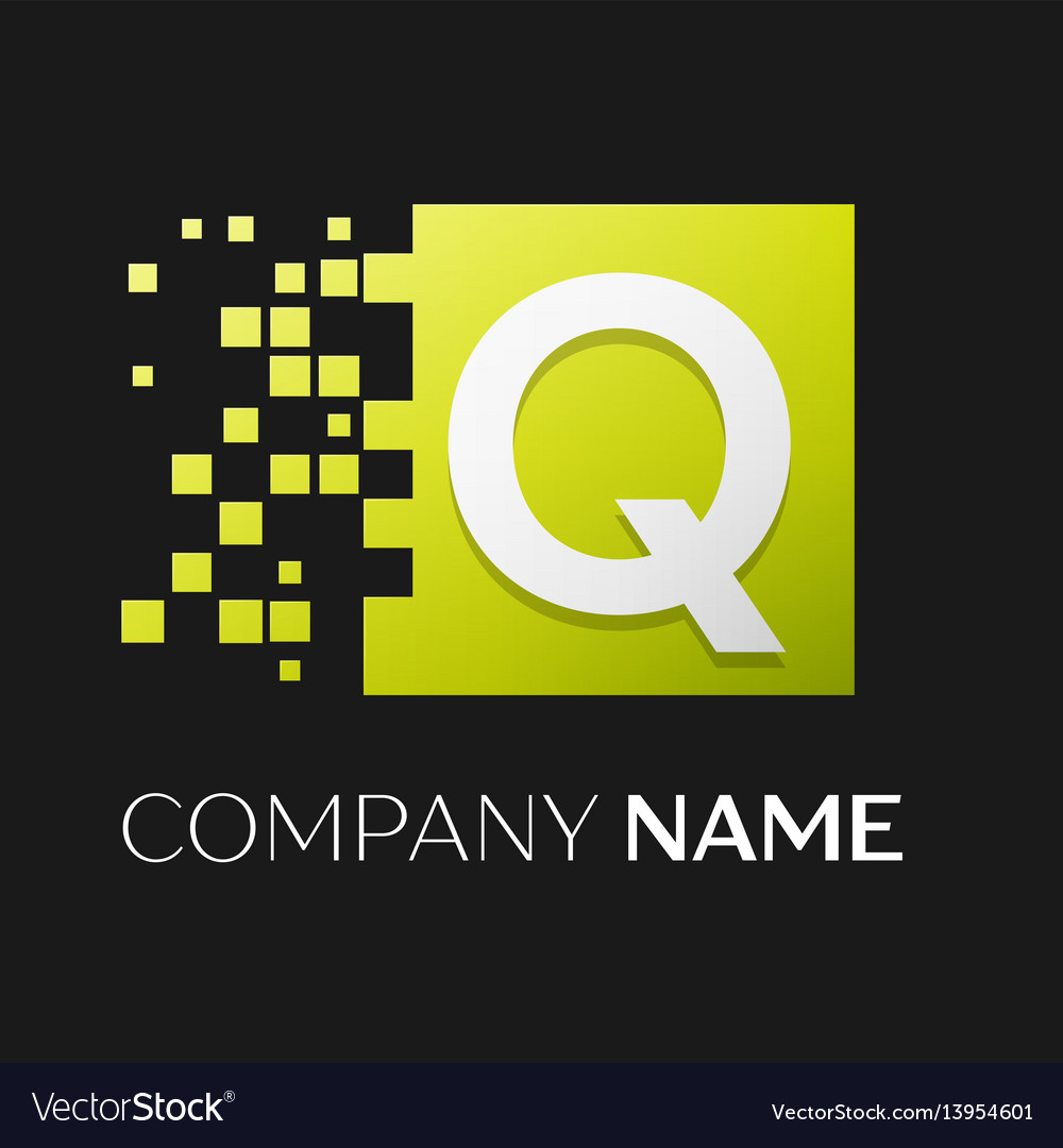 Letter q logo symbol in the colorful square vector image