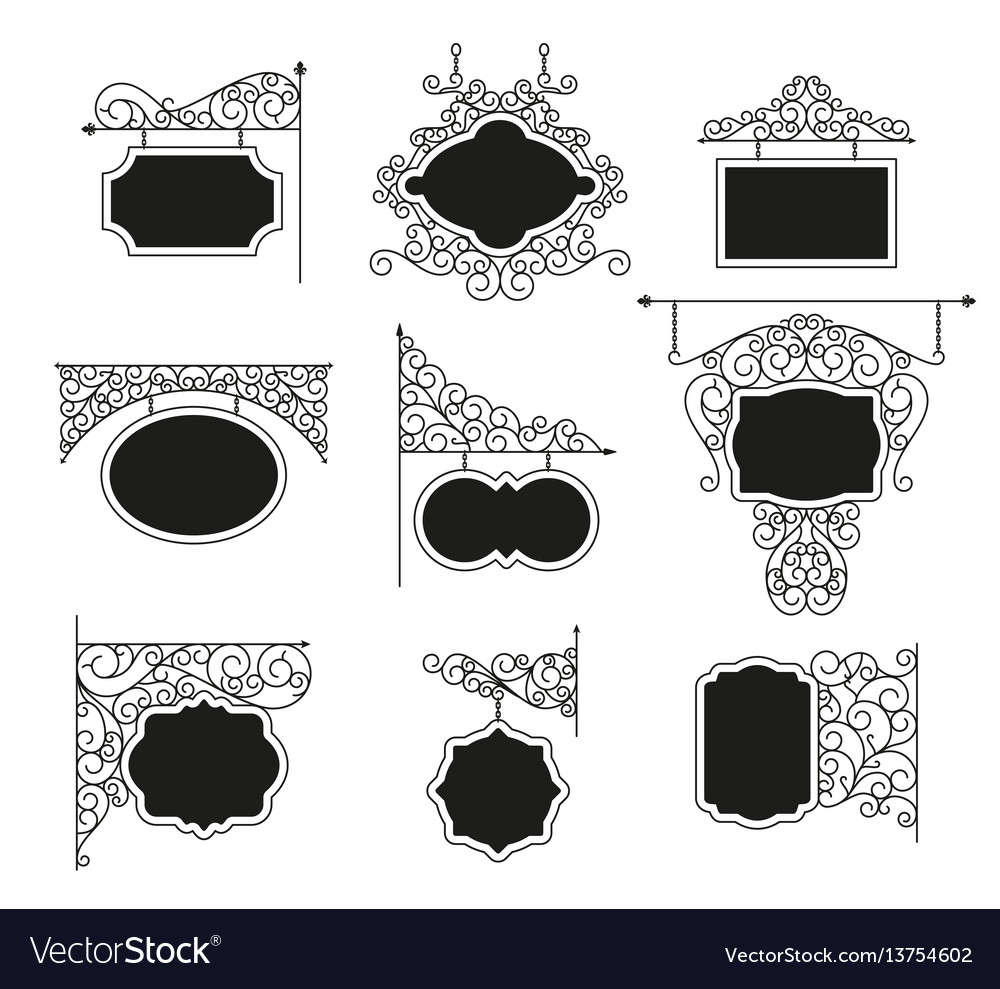 Forged metal signboards set vector image