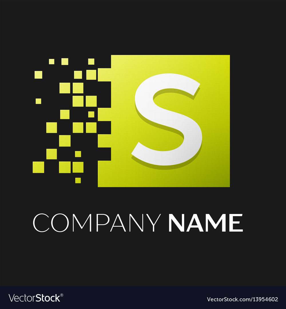 Letter s logo symbol in the colorful square vector image