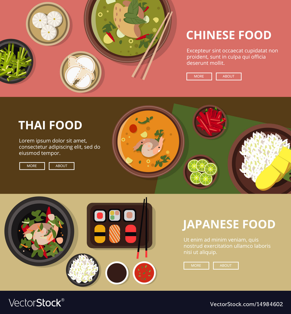 Three horizontal banners with thai japanese and vector image