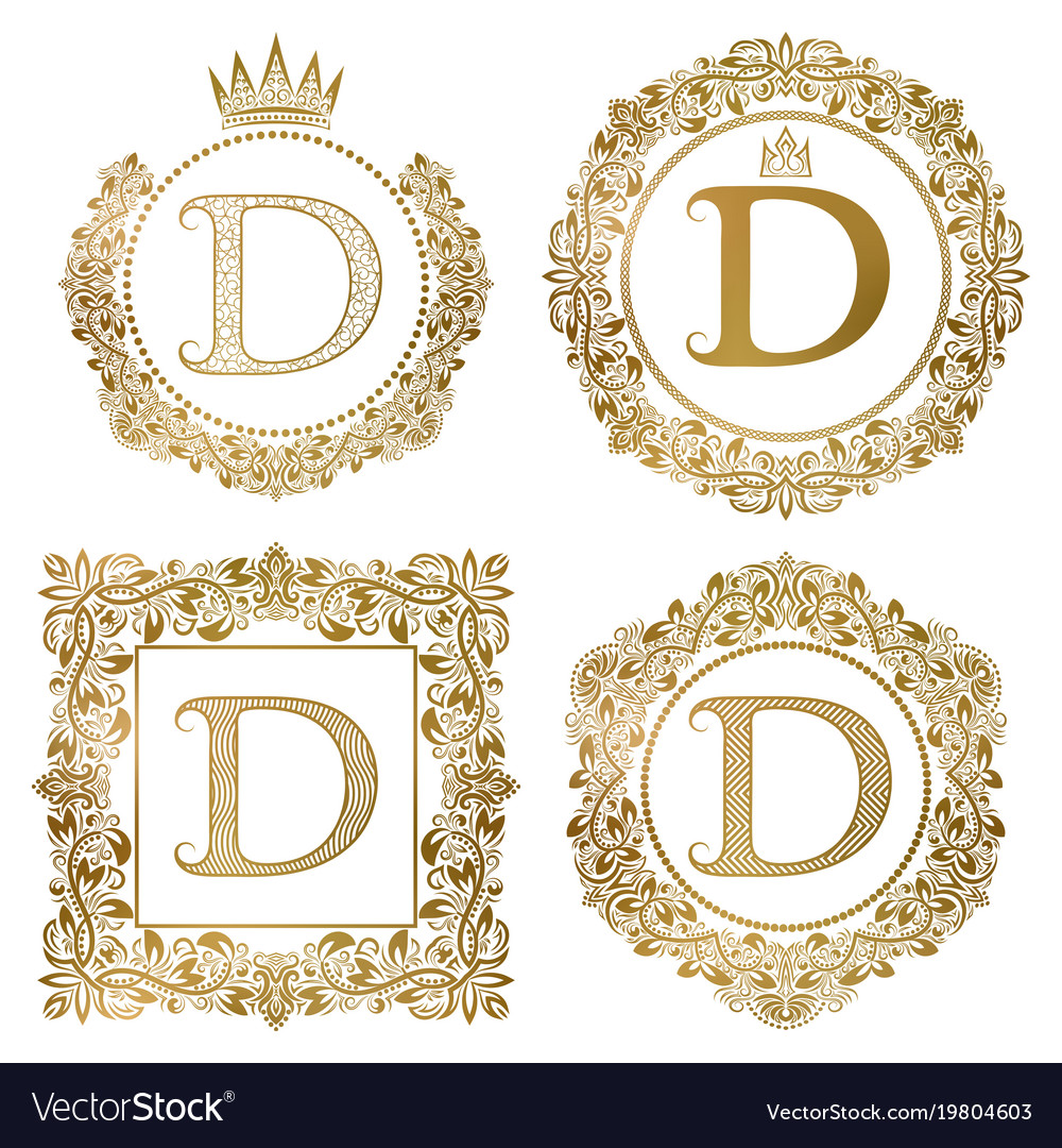 Golden letter d vintage monograms set heraldic vector image