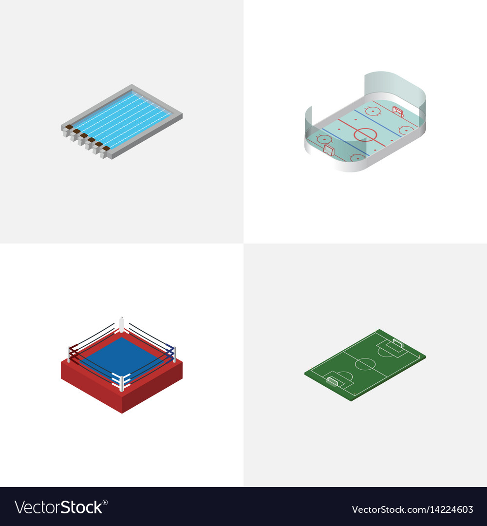 Isometric training set of basin fighting soccer vector image