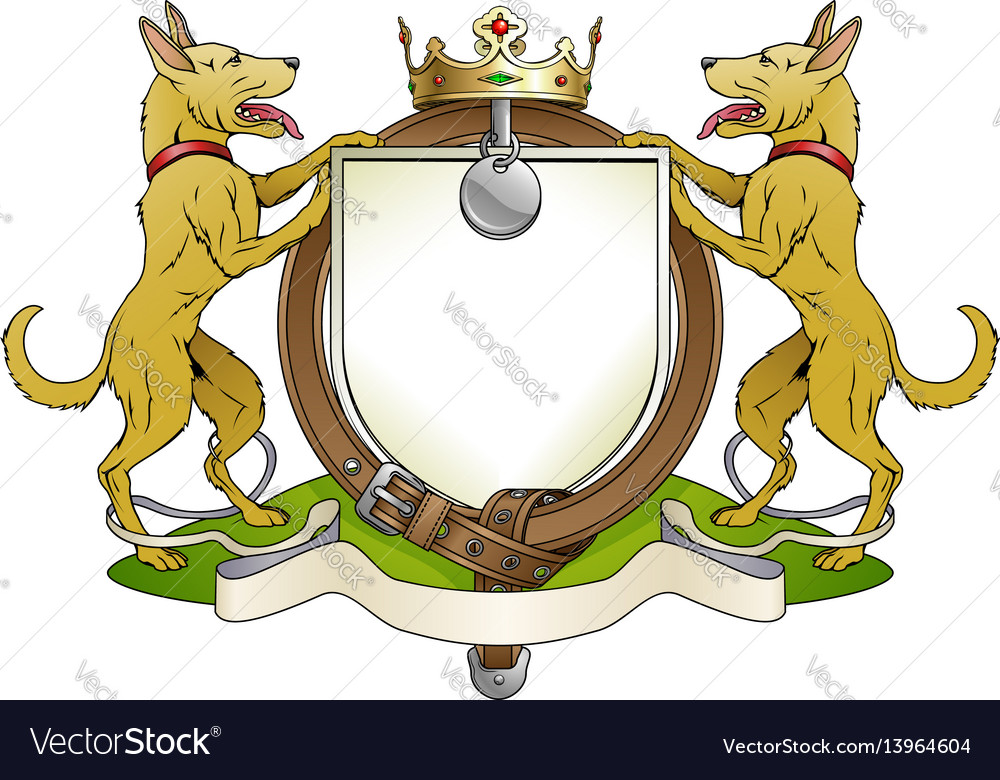 Dog pets heraldic shield coat of arms vector image