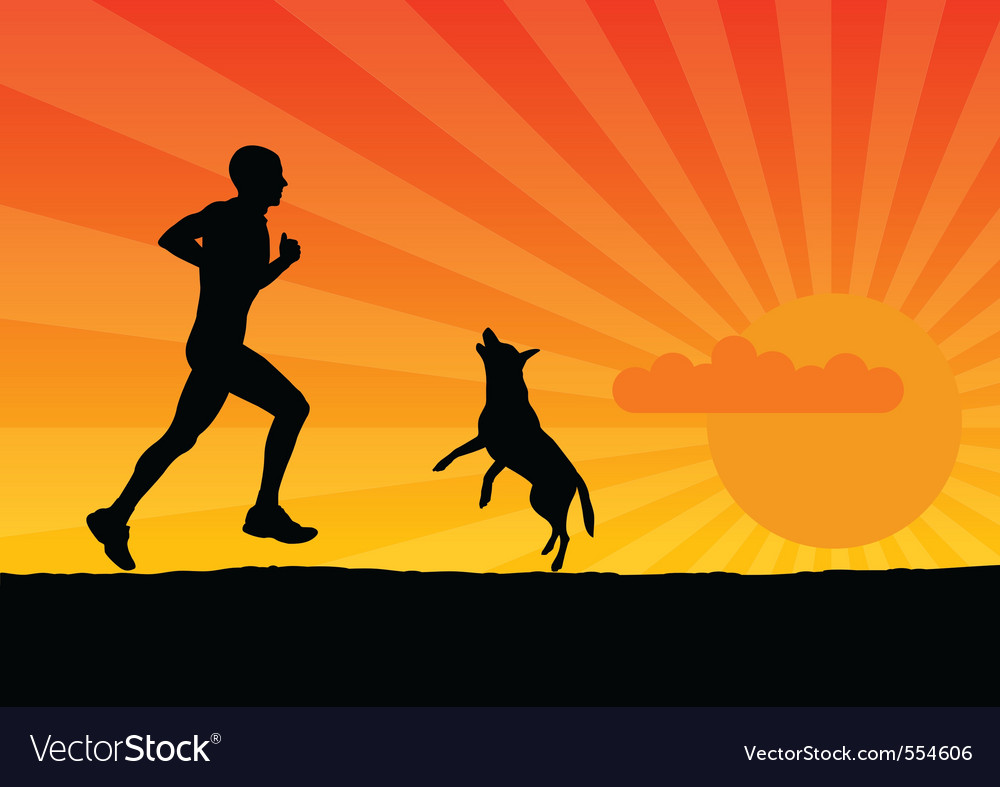 Black silhouette of man with dog vector image