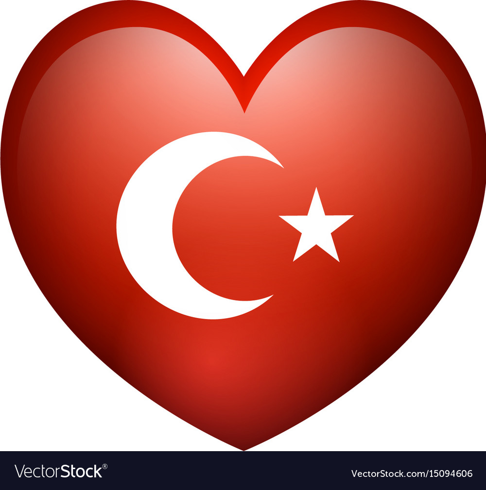 Flag of turkey in heart shape vector image