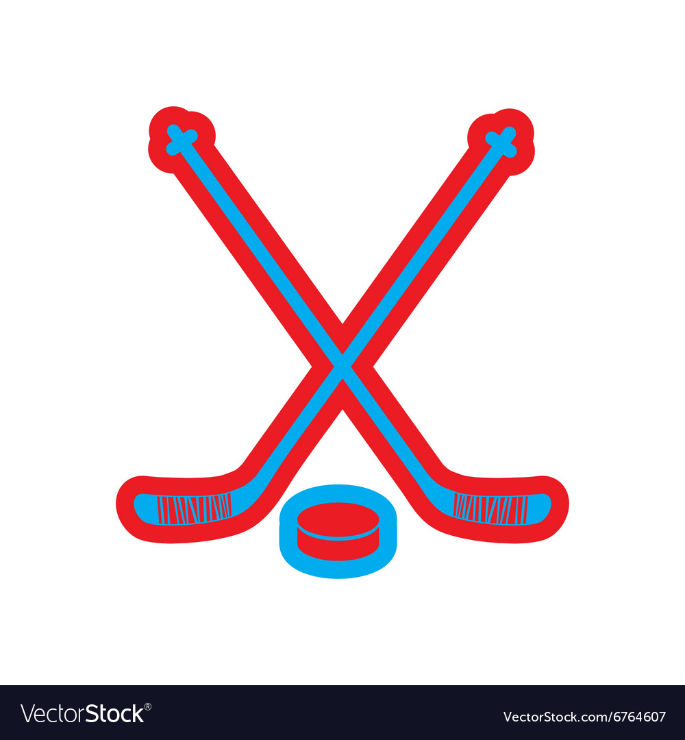 Flat icon on white background hockey sticks