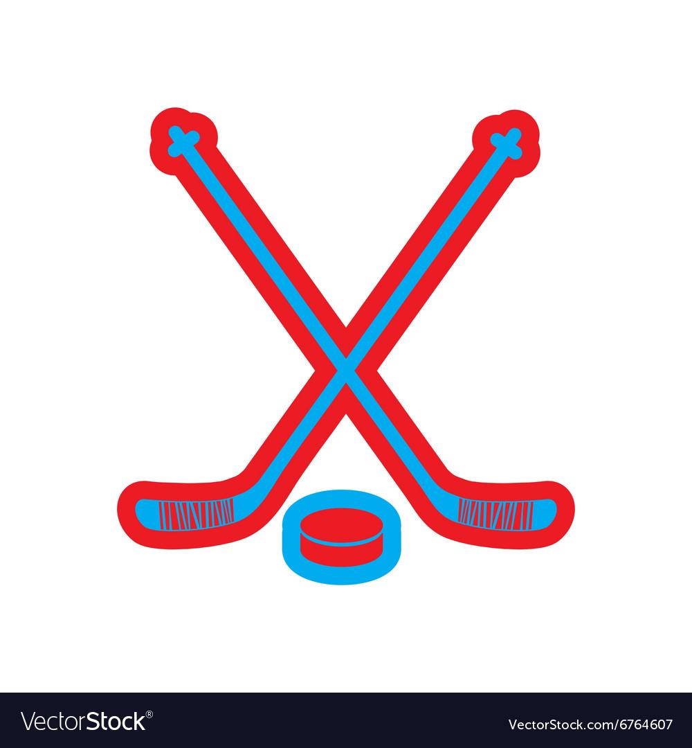 Flat icon on white background hockey sticks