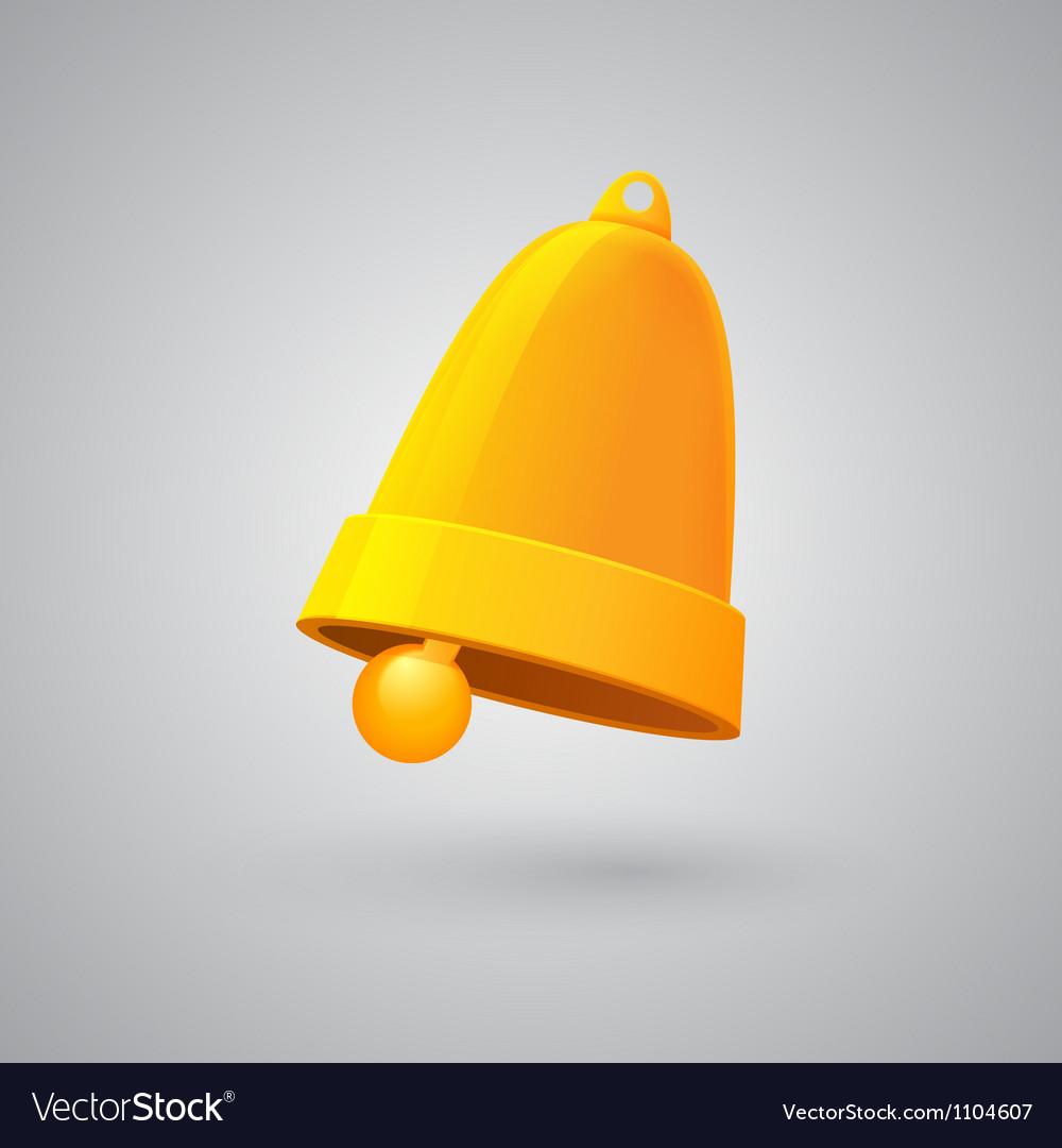 Shiny golden Christmas bell vector image
