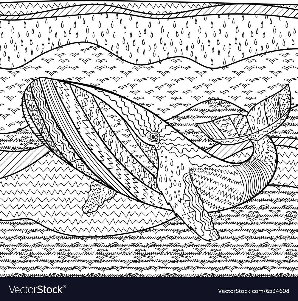 Whale in the waves for anti stress coloring page Vector Image