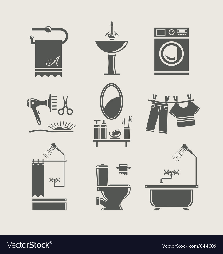 Bathroom equipment set icon vector image
