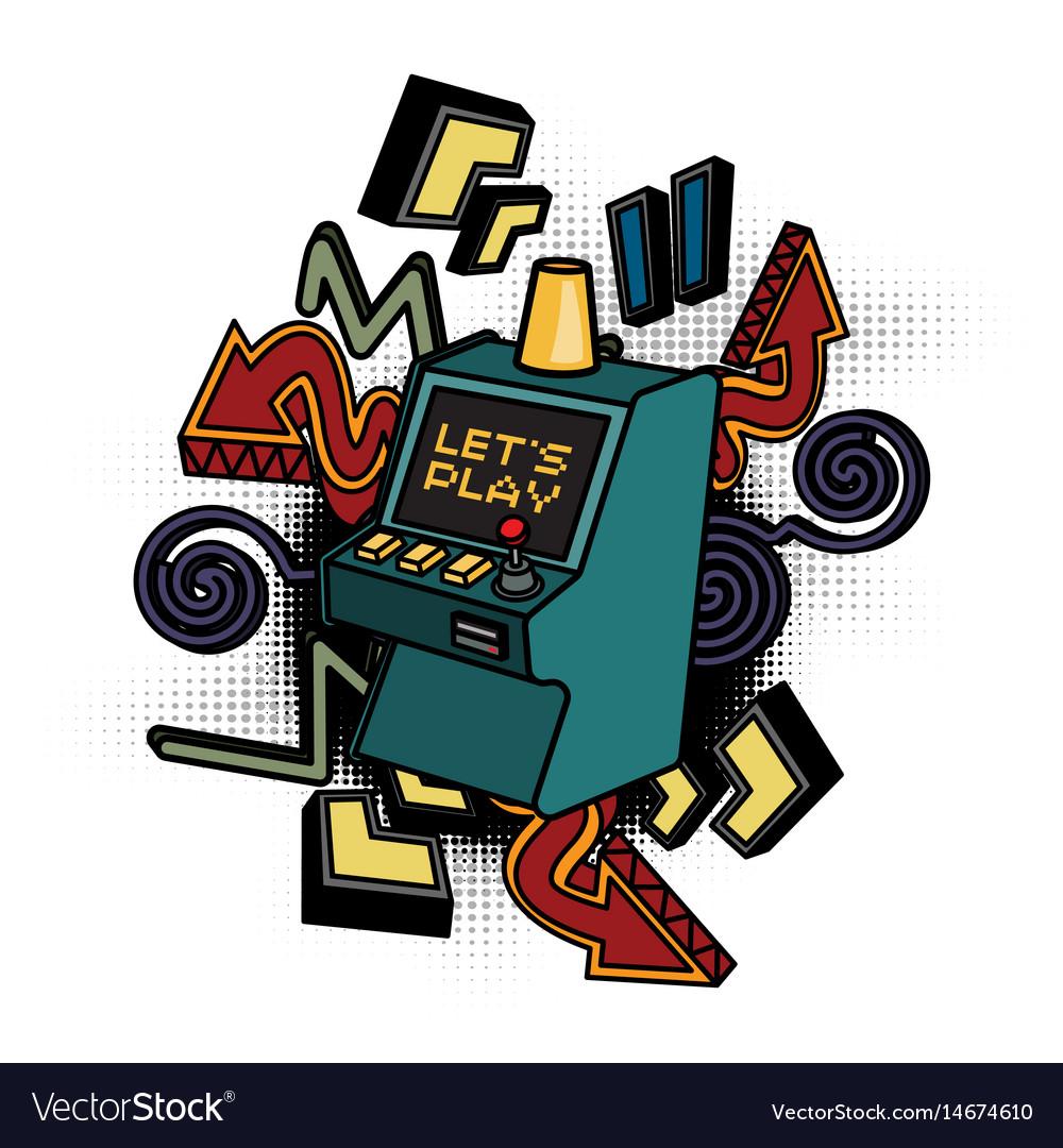 Retro arcade game machine lets play video games vector image